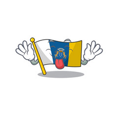 Funny face flag canary island scroll mascot design vector