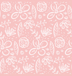 Funny pink doodle pattern with big floral elements vector