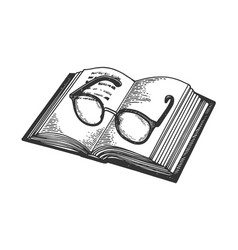 Glasses on book engraving vector