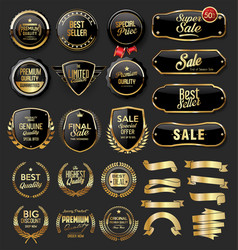 Gold and black badges shields plates and laurels vector