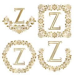 golden z letter ornamental monograms set heraldic vector image