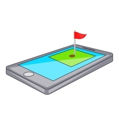 Golf course on phone icon cartoon style vector image