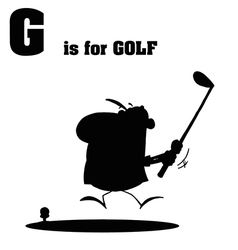 Golfer cartoon with silhouette vector image