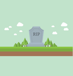 graveyard rip rest in peace tombstone with sky vector image