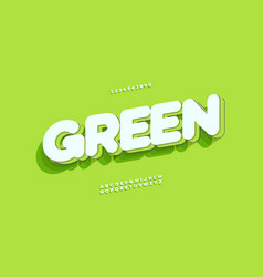 Green font 3d bold style vector