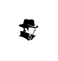 hacker human head face detective logo vector image