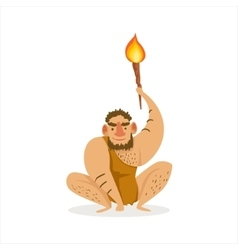 Hairy Man Crouching With Alite Torch Cartoon vector