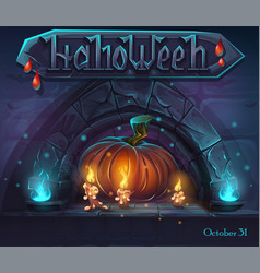 Halloween background - pumpkin and candles witn vector