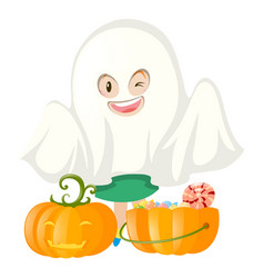 Halloween costume and pumpkin bucket vector