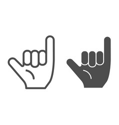Hang loose gesture line and glyph icon shaka vector
