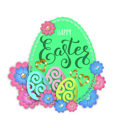 happy easter paper design egg and flowers vector image