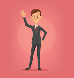 Happy smiling businessman character waving hand vector