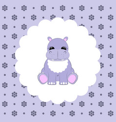 Hippo baby flat vector