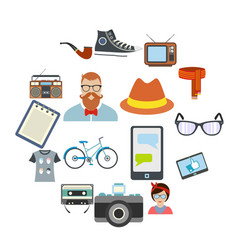 Hipster style flat icons set vector