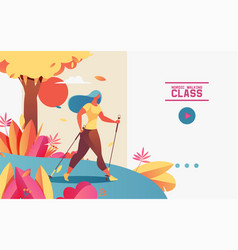 horizontal web banner or landing page with vector image