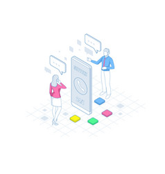 Isometric user support service or call center in vector