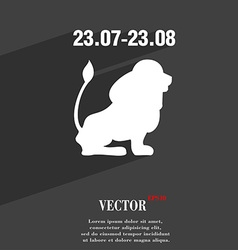 Leo zodiac symbol Flat modern web design with long vector