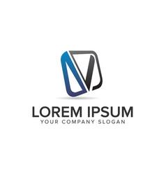 letter v modern square logo design concept vector image