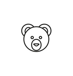line cute teddy bear head design white background vector image