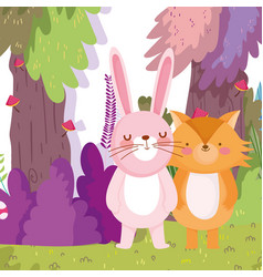little fox and rabbit cartoon character forest vector image