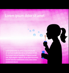 little girl blowing soap bubbles over abstract vector image
