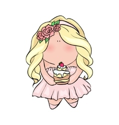 little girl holding cake cute character vector image