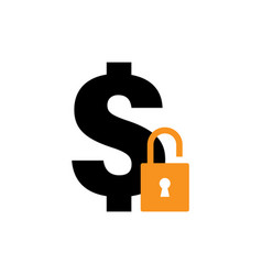 locked dollar icon graphic design template vector image
