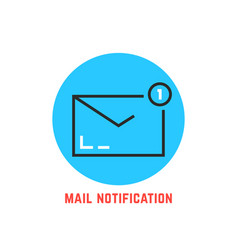 Mail notification in blue circle vector