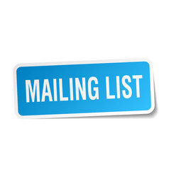 mailing list square sticker on white vector image