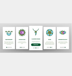 Mystic symbol tool onboarding icons set vector