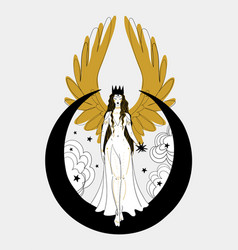 Mystical goddess woman or angel with golden wings vector