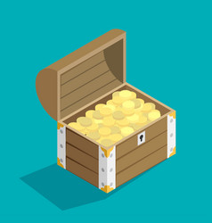 open treasure chest isolated flat isomertic design vector image