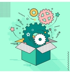 outside the box gear mechanism vector image