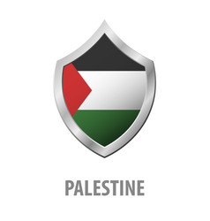Palestine flag on metal shiny shield vector
