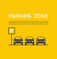 parking zone sign with car black silhouette icons vector image