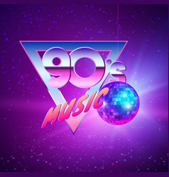 paster template for disco party 90s neon colors vector image