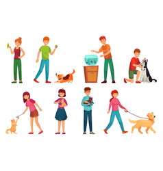 people with pets playing with dog happy pet vector image