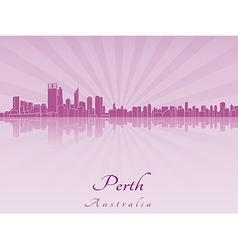 Perth skyline in purple radiant orchid vector