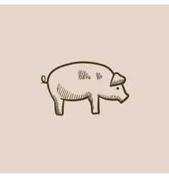 Pig sketch icon vector image