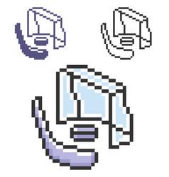 pixel icon hockey in three variants fully vector image