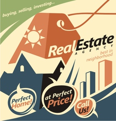 Promotional document template for real estate agen vector