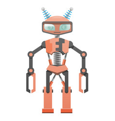 Red robot with pincer hands and two horns art icon vector