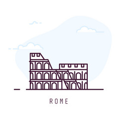 rome line style colosseum vector image