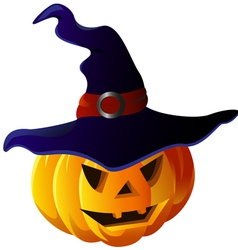 Scary Halloween Pumpkin in Witch Hat vector image