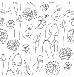 seamless pattern continuous line art with vector image
