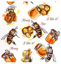 seamless pattern with bees honey and comb vector image