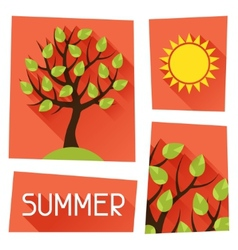 Seasonal with summer tree in flat vector