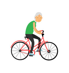 Senior woman riding a bicycle pensioner people vector