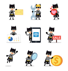 Set character bat man in scary movie vector