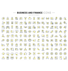 Set Flat Line Icons Business and Finance vector image